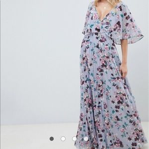 ASOS flutter sleeve pleated floral maxi